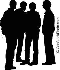 teenagers silhouette vector