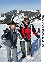 teenagers skiing