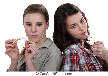 Teenagers smoking and breaking the habit
