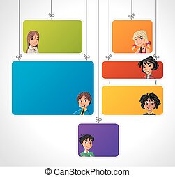 Teenagers. - Colorful template for advertising brochure with...