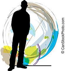 teenagers., vector, ilustración