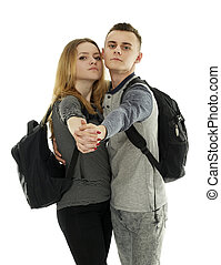 Teenagers with backpack on white