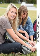 Teenagers working outside