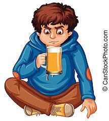 Teengaer drinking a beer