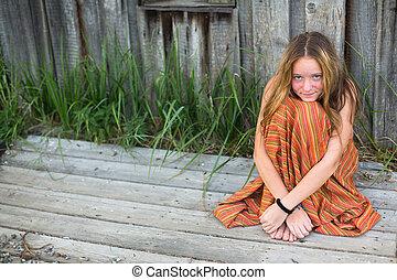 teengirl, encantador, village., ao ar livre