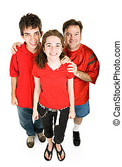 Teens and Dad in Red