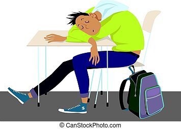 Teens and sleep problems - Teenager sleeping at the desk at...