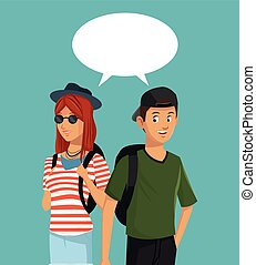 teens boy and girl talking bubble speech