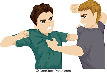 Illustration of Two Teenage Guys Arguing and Punching Each Other