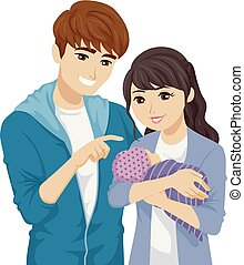 Teens Couple Young Parents Baby Illustration