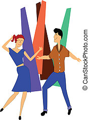 teens dancing in retro style over white
