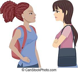Teens Girls Student Conflict Illustration