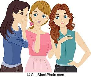 Teens Gossip - Illustration of Teenage Girls Gossiping