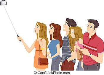 Teens Groupie Selfie Stick