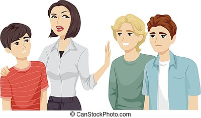 Teens Guy Mom Keep Friends Away Illustration