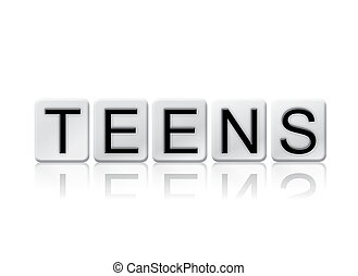 Teens Isolated Tiled Letters Concept and Theme