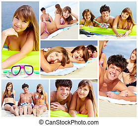 Teens on the beach - Collage of happy teens spending leisure...