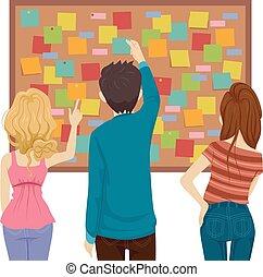 Teens Posting Notes Board Illustration
