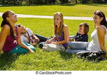 Teens sitting on lawn in park talking