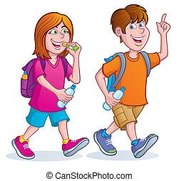 Teens Taking A Hike - Cartoon illustration of a teenage girl...