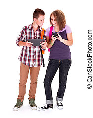 Teens with mobile devices - Teenager boy and his girlfriend...