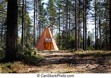 Teepee Cabin in Forest - A teepee cabin hut in the forest
