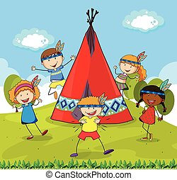 Children playing indians around red teepee