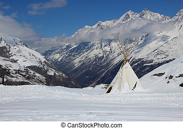Teepee high in the Swiss Alps - Indian style teepee tent set...