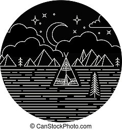 Rustic monoline design background. Teepee, trees and mountains at night under moon, stars and clouds.