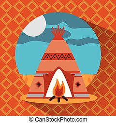 teepee native american with bonfire landscape