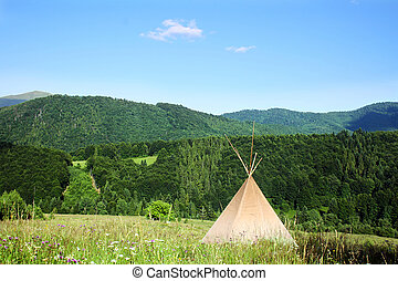 teepee in the Carpathian Mountains