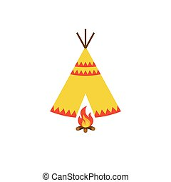 Teepee tent of native American and bonfire with firewood...