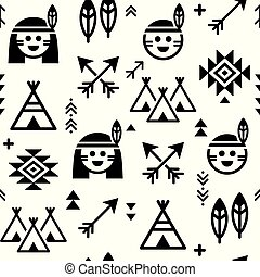 teepee, vecteur, garçons, modèle, flèches, seamless, filles, indien amérique, fond, indigène