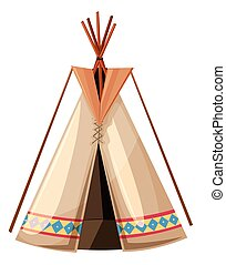 Teepee with wooden sticks poles illustration