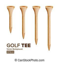tees golfe, vector., realístico, ilustração, de, madeira, golfing, tees, isolado, branco, experiência., diferente, tamanho