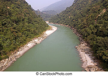Teesta River, West Bengal, india - Teesta River valley, West...