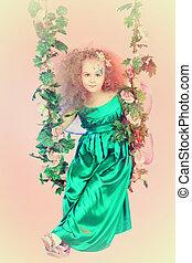 teeter - Beautiful little fairy swinging on a swing over...