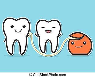 Teeth and dental floss.