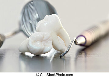 teeth and dental instruments - real human wisdom teeth and...