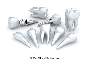 Teeth and implant, Dental concept over white