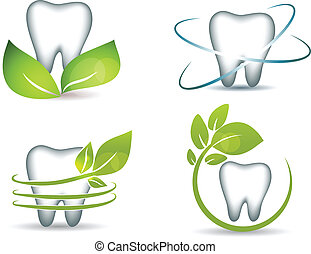 Healthy teeth with green leafs Clean and bright designs