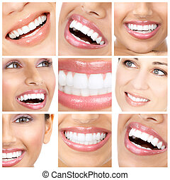 teeth and smile - young woman smile and teeth. Close up