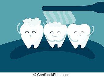 Teeth and toothbrush - teeth and toothbrush