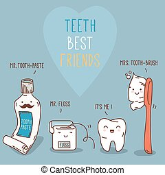 Teeth best friends - tooth past, tooth brush and floss. -...