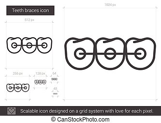 Teeth braces line icon. - Teeth braces vector line icon...