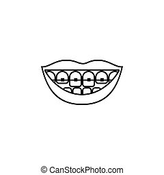 Teeth braces vector line icon isolated on white background....