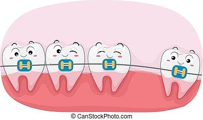 teeth, bretels, illustratie, mascotte