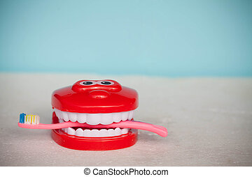 Teeth brush and jaw copy space. You should visit dentist to have full hygiene treatment and keep white healthy smile. Great dental hygiene tips. Stay healthy. Brush to keep healthy smile