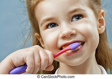 teeth brushing - little girl brushing teeth