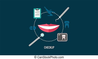 Teeth care checkup label animation with smile